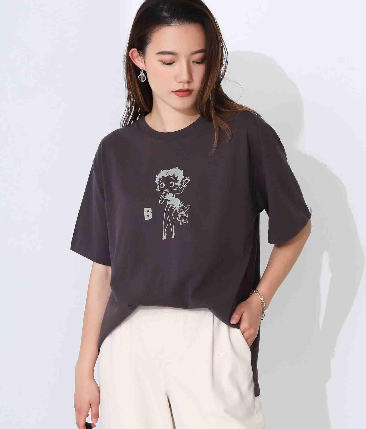 BettyBoopフロッキープリントTシャツ