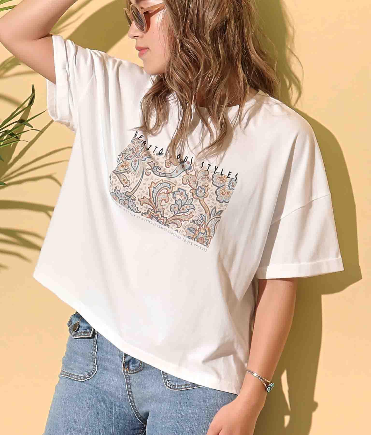 ペイズリーボックスロゴTシャツ