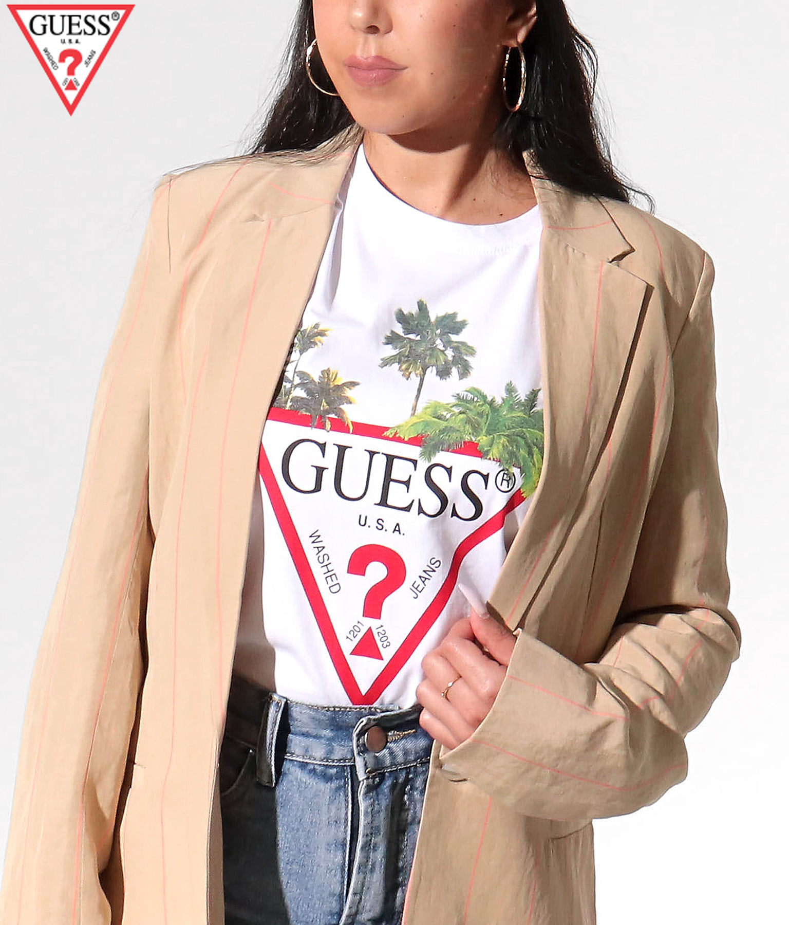GUESS CN SS PALM TRIANGLE TEE