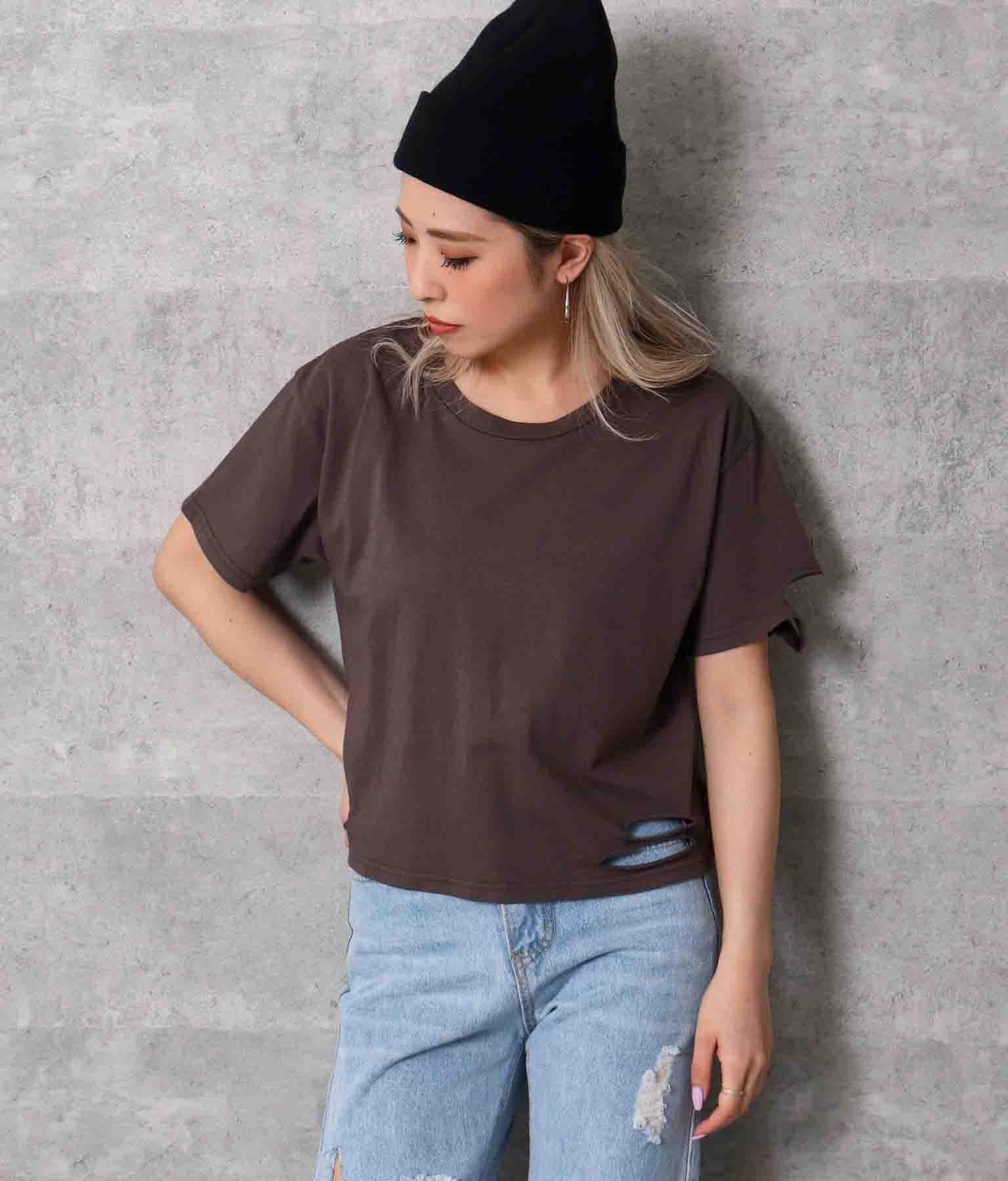 ダメージクロップドTシャツ(トップス/Tシャツ) | ANAP