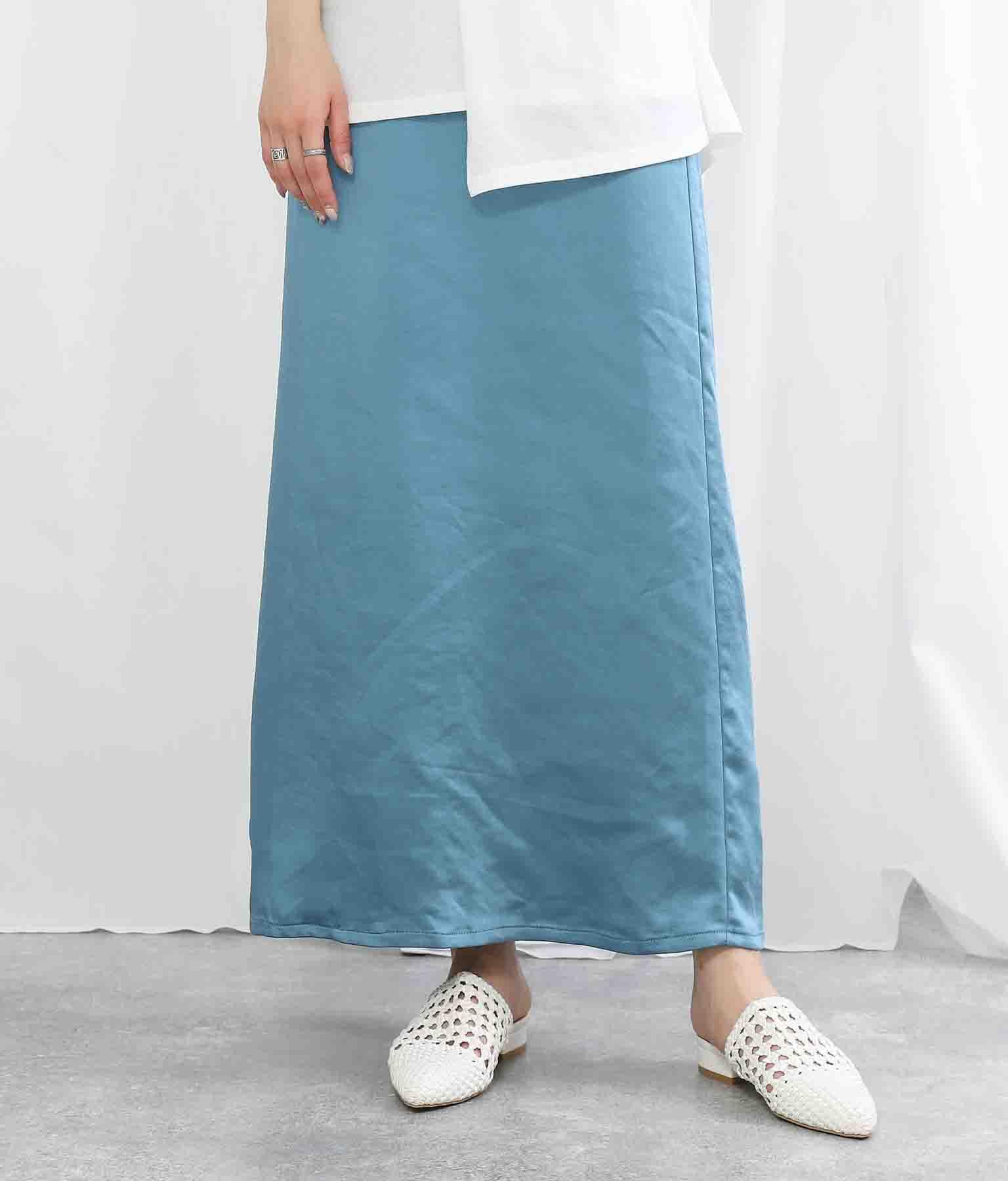 ヴィンテージサテンIラインマキシ丈スカート