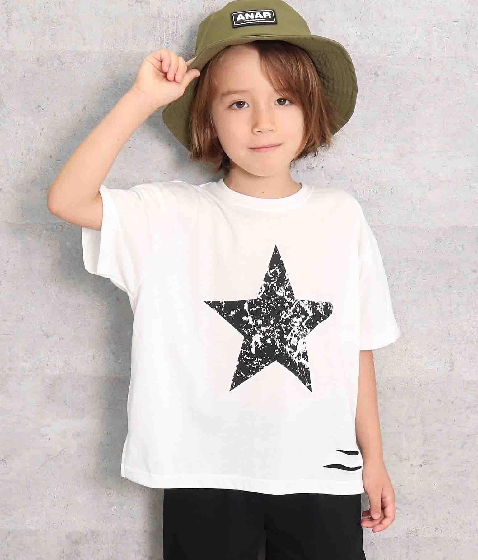 スタープリントスラッシュビッグTシャツ(トップス/Tシャツ) | ANAP KIDS