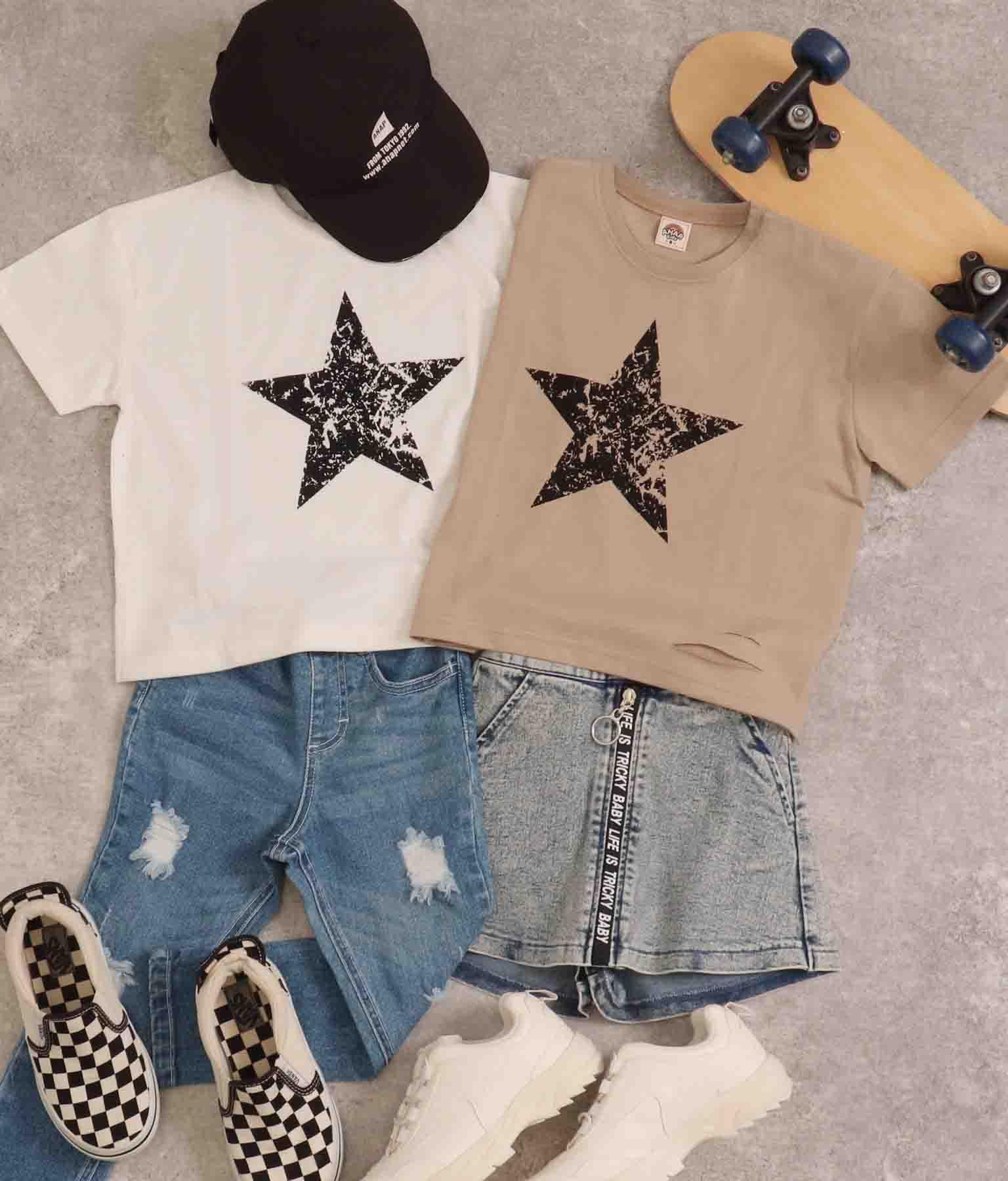 スタープリントスラッシュビッグTシャツ | ANAP KIDS