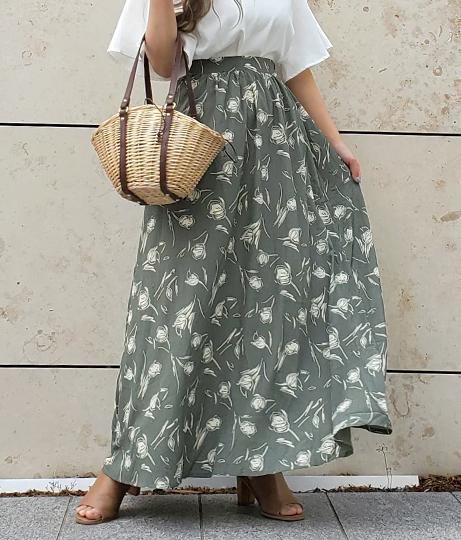 チューリップペイント柄ロングフレアスカート(ボトムス・パンツ /スカート) | CHILLE