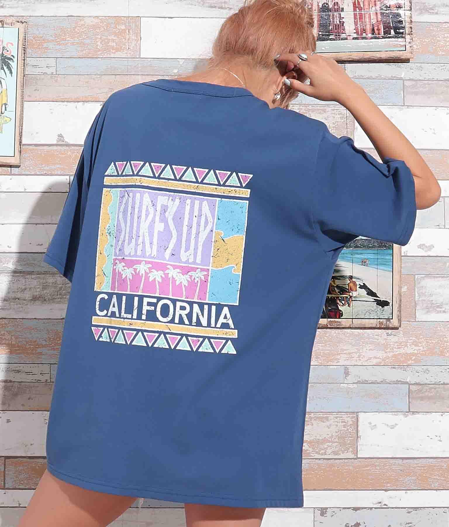 レトロサーフプリントTシャツ