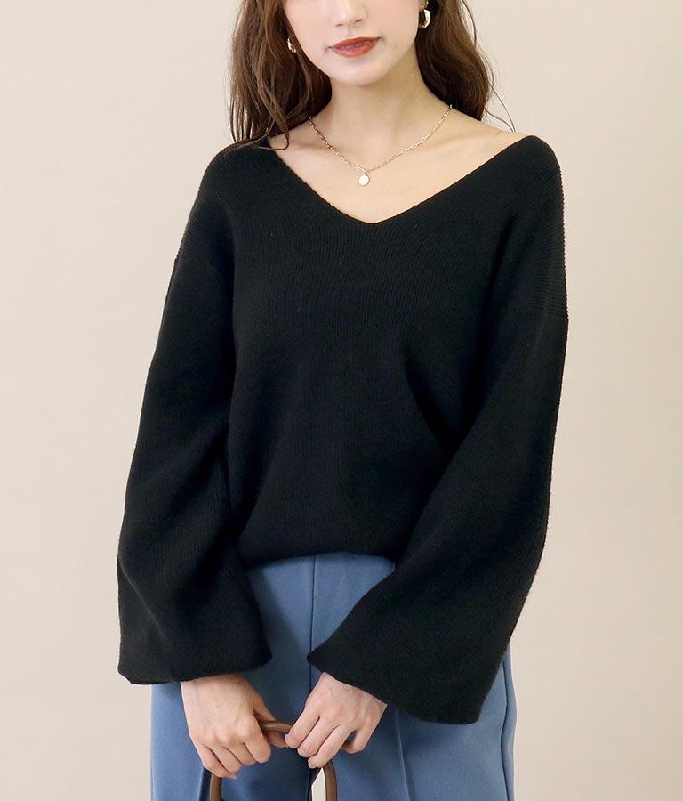 Vネックボリューム袖やわらかニットトップス(トップス/ニット/セーター) | CHILLE