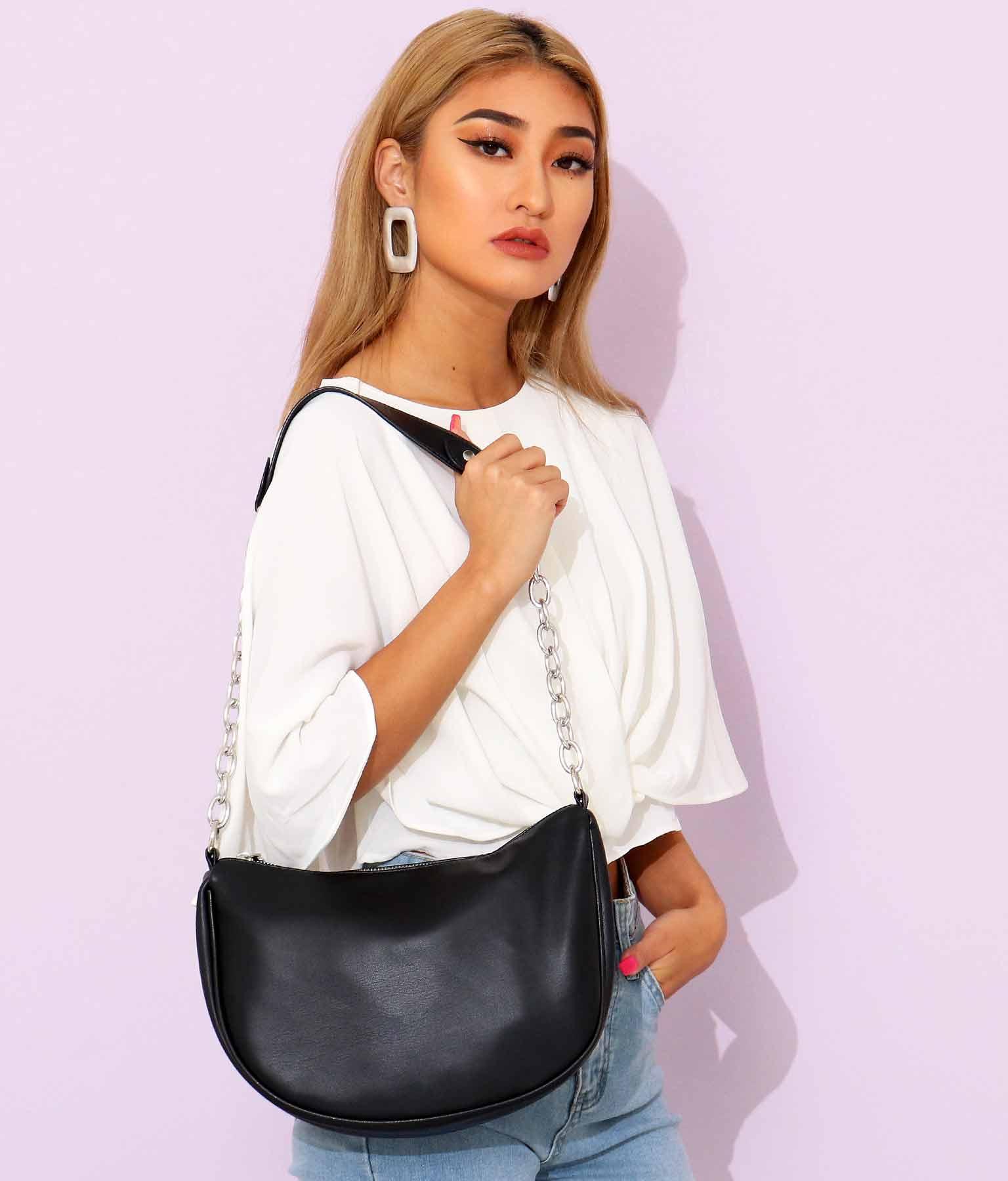 シルバーチェーンフェイクレザーバッグ(バッグ・鞄・小物/ショルダーバッグ) | anap Latina