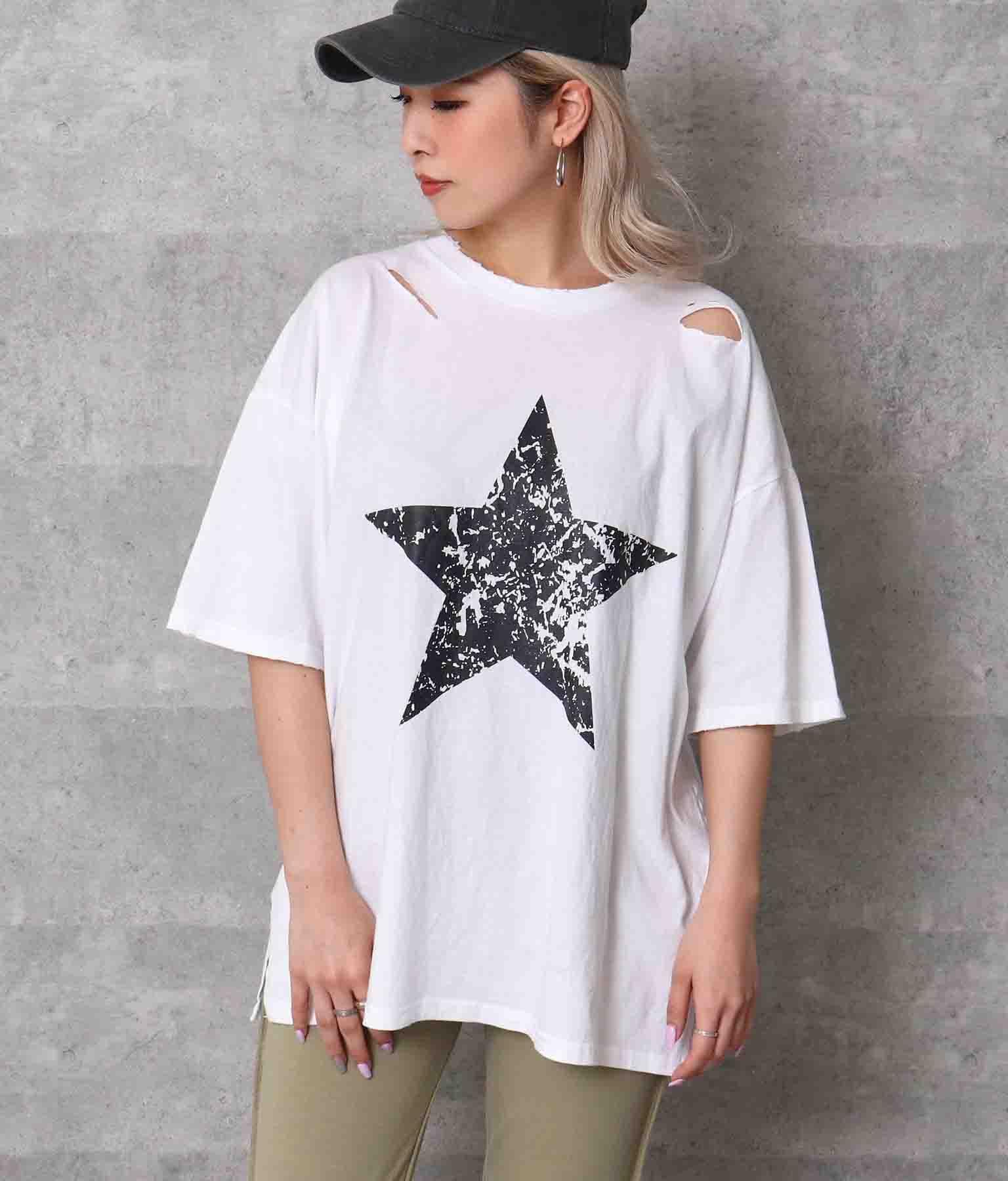 星プリントダメージTシャツ