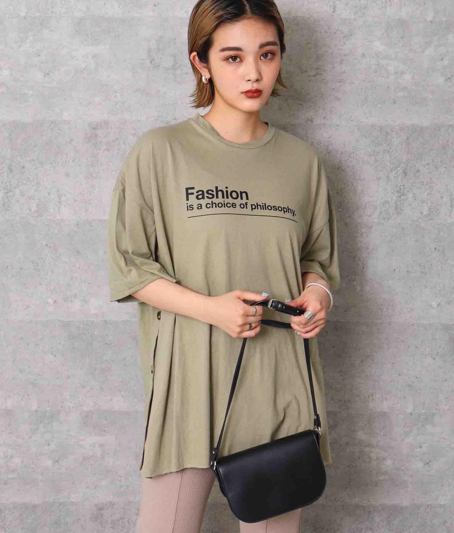 サイドベッコウボタン×スリットTシャツ(トップス/Tシャツ) | ANAP