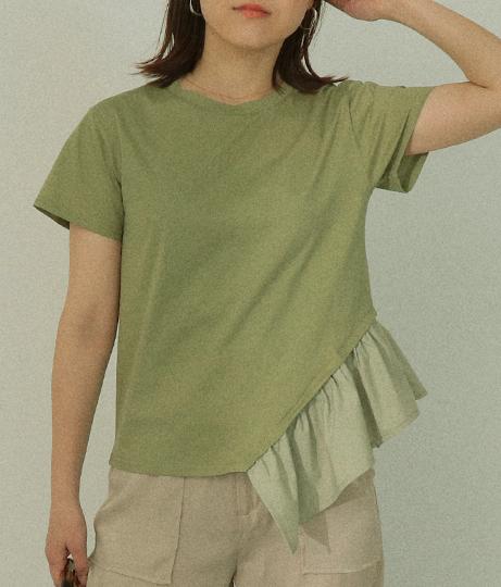 アシンメトリーフリルTシャツ
