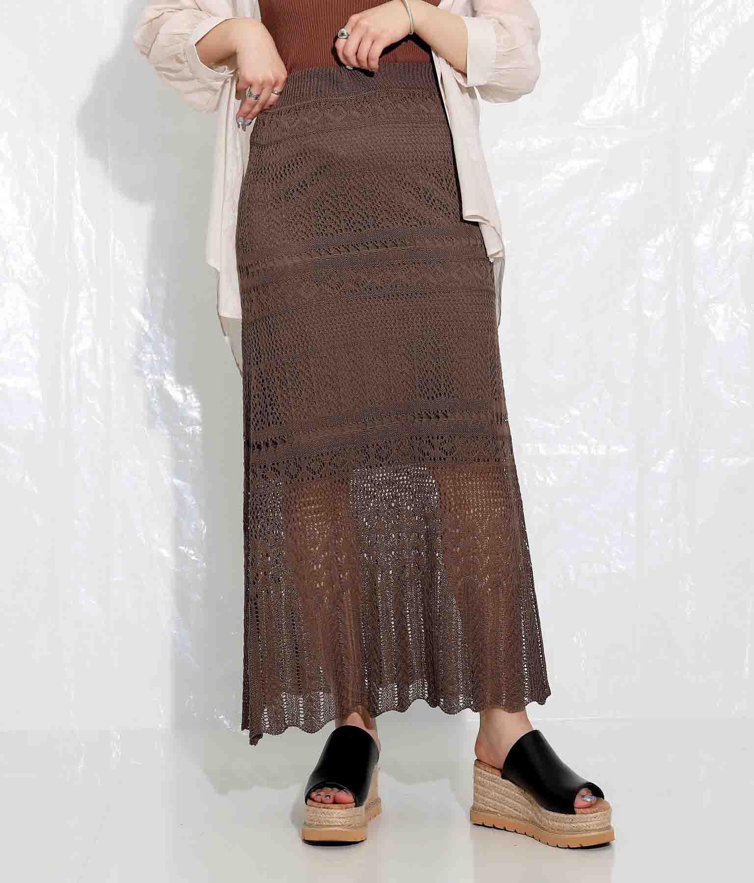 リネンライク透かし編みロングスカート