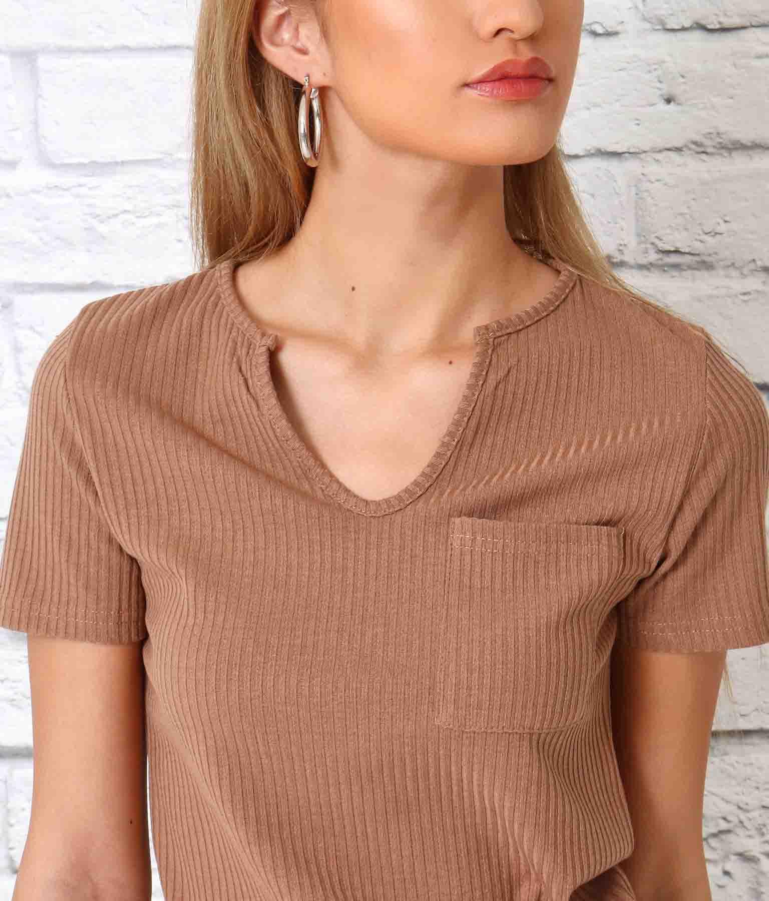 キーネックポケット付リブTシャツ(トップス/Tシャツ)   anap Latina