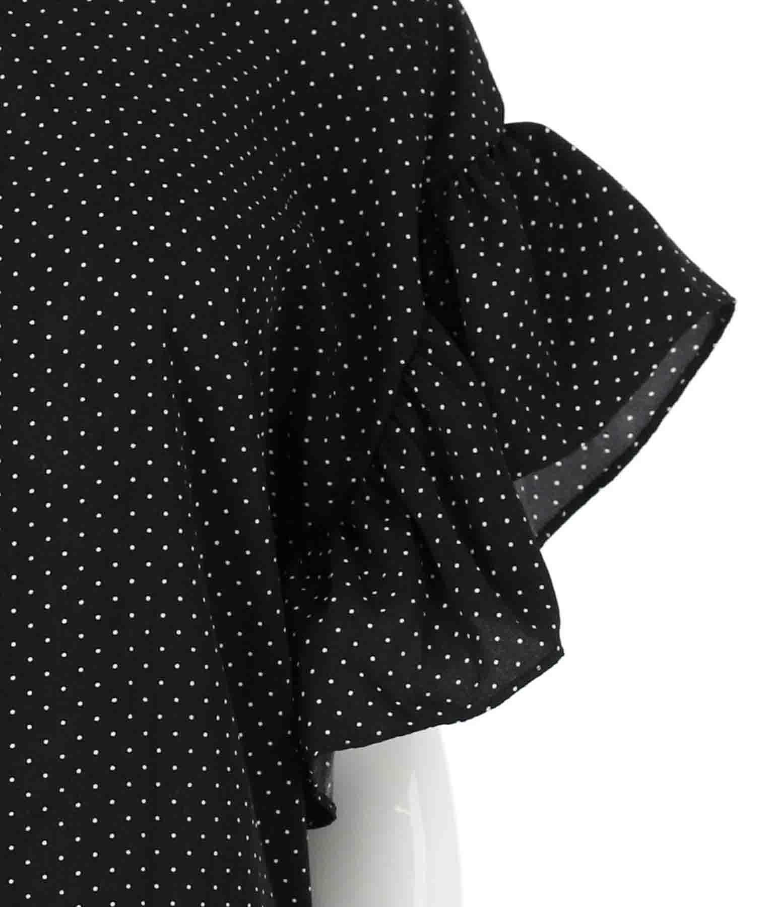 バックリボンドット柄袖フリルトップス | CHILLE