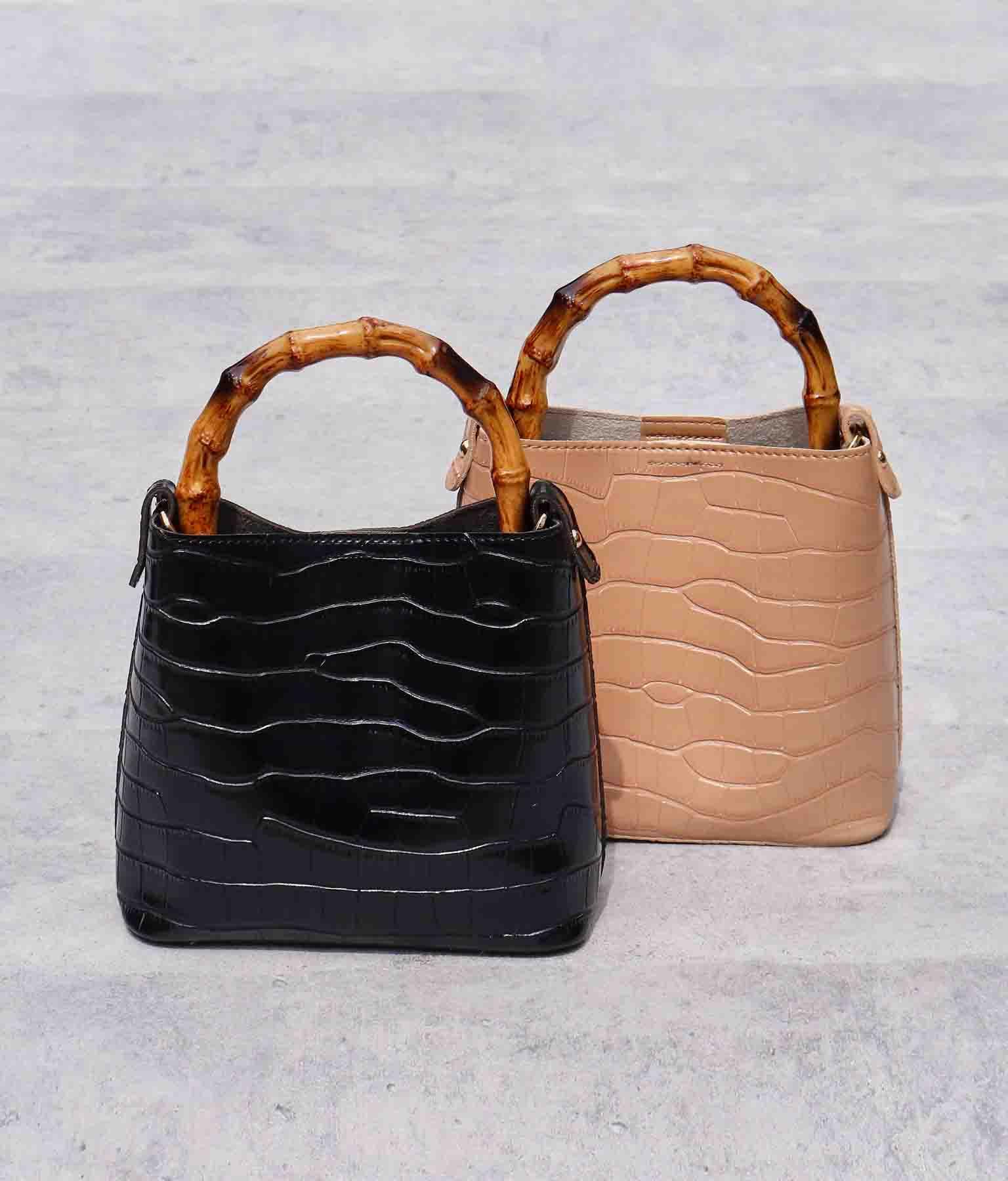 バンブーハンドルクロコ風バッグ(バッグ・鞄・小物/ハンドバッグ・ショルダーバッグ) | ANAP