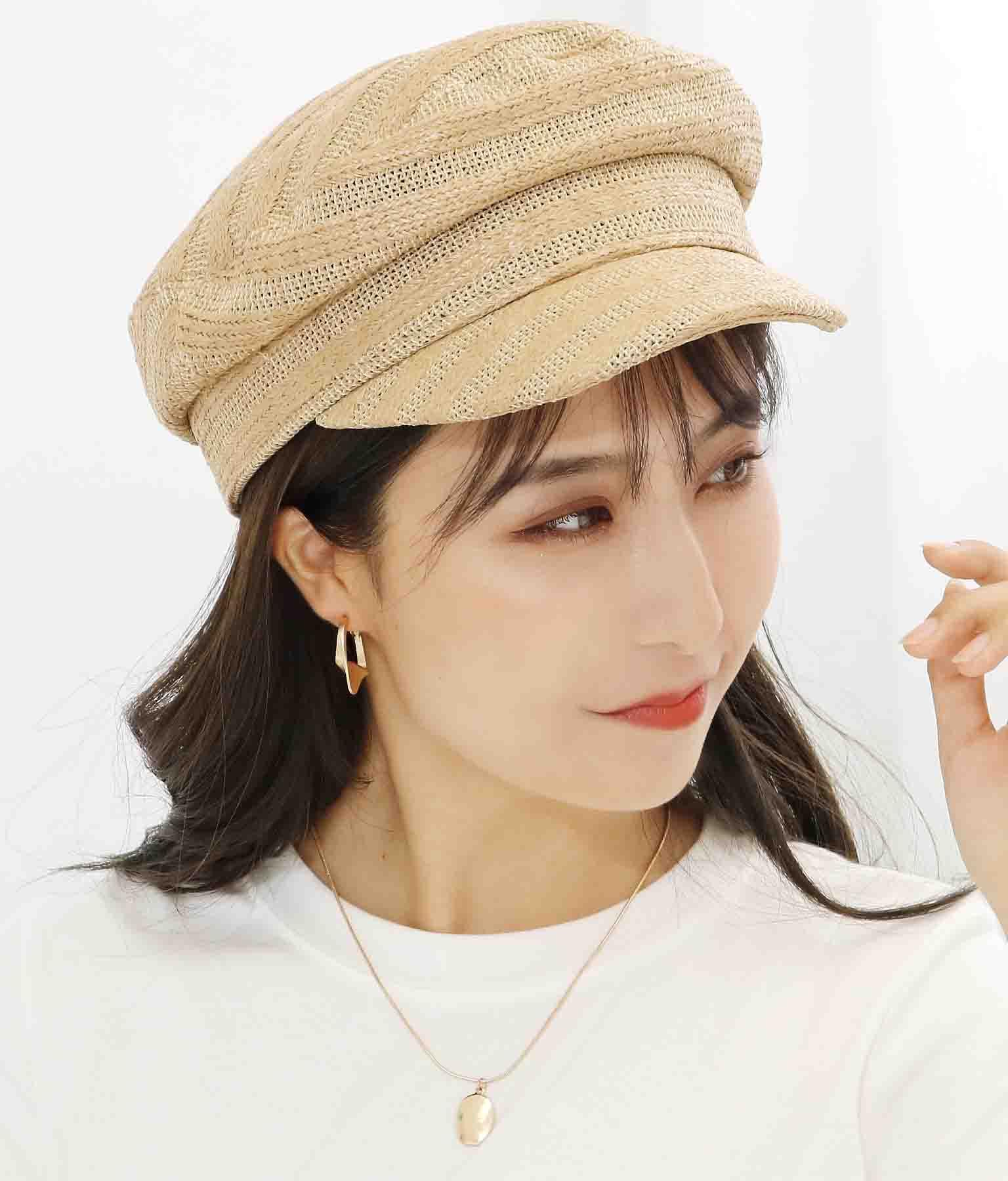 ストライプ模様入りキャスケット(ファッション雑貨/ハット・キャップ・ニット帽 ・キャスケット・ベレー帽)   CHILLE