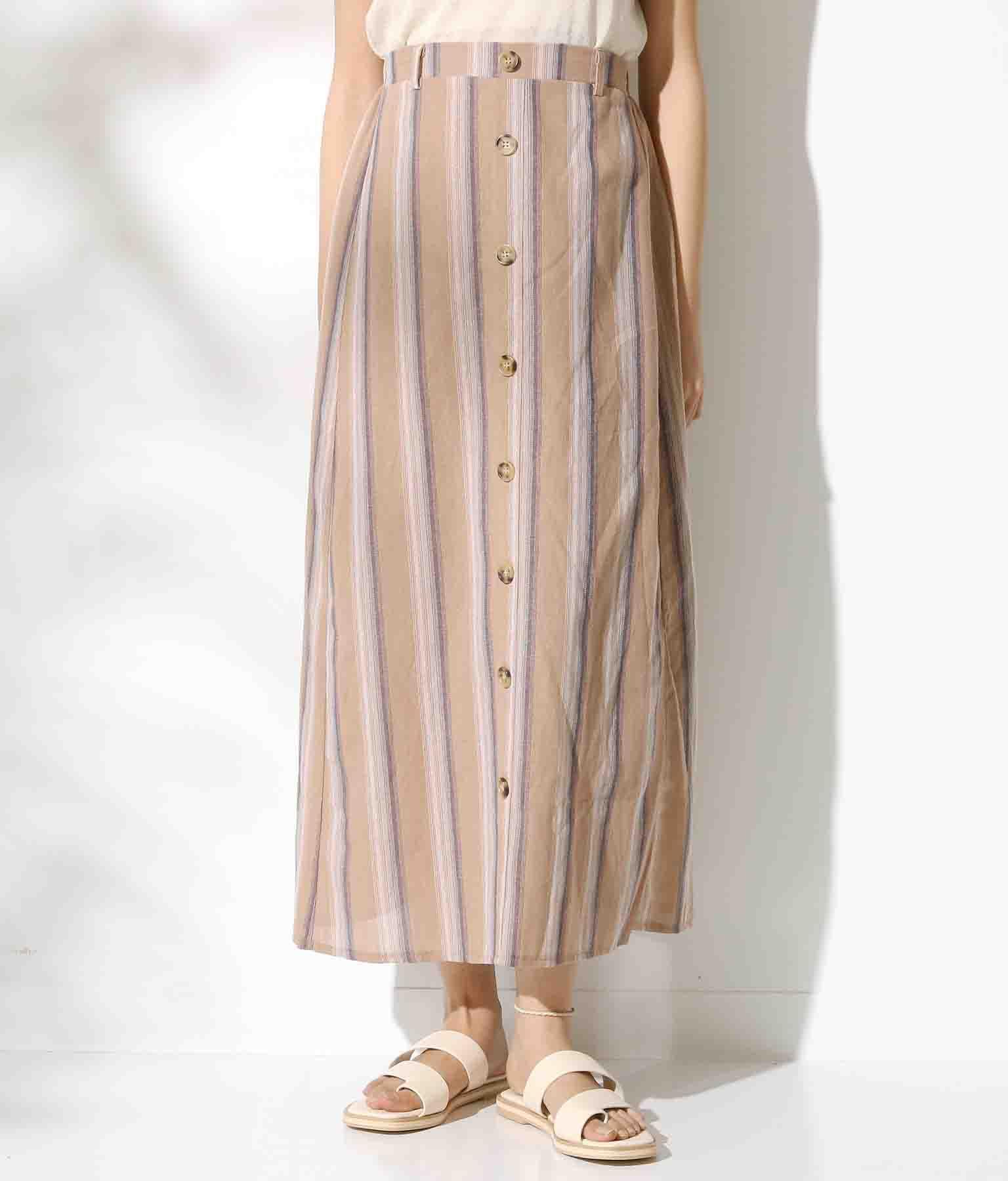 フロントボタンデザインストライプスカート(ボトムス・パンツ /スカート) | CHILLE