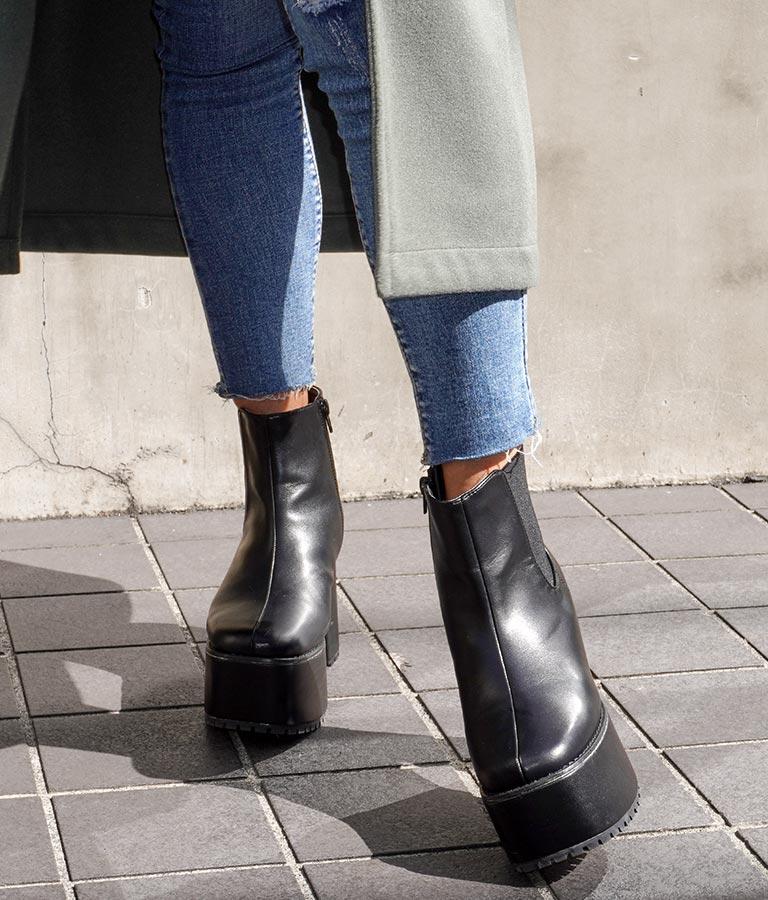 サイドゴア厚底ブーツ(シューズ・靴/ブーツ・厚底ブーツ) | ANAP