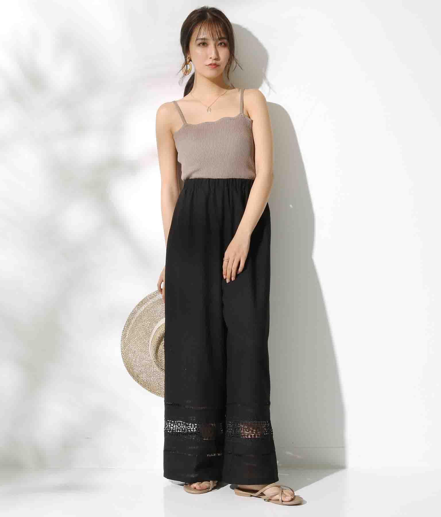 裾レースデザイン麻風素材ワイドパンツ(ボトムス・パンツ /ロングパンツ)   CHILLE