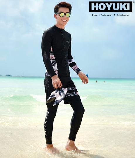 メンズ フィットネス水着3点セット(水着/レギンス・ボードショーツ・ラッシュガード・水着セット)   HOYUKI