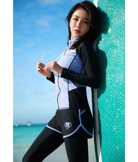 レディース フィットネス水着5点セット(水着/レギンス・ビキニ・ボードショーツ・ラッシュガード・水着セット)   HOYUKI