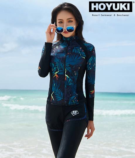 レディース フィットネス水着5点セット(水着/ビキニ・ボードショーツ・ラッシュガード・水着セット) | HOYUKI