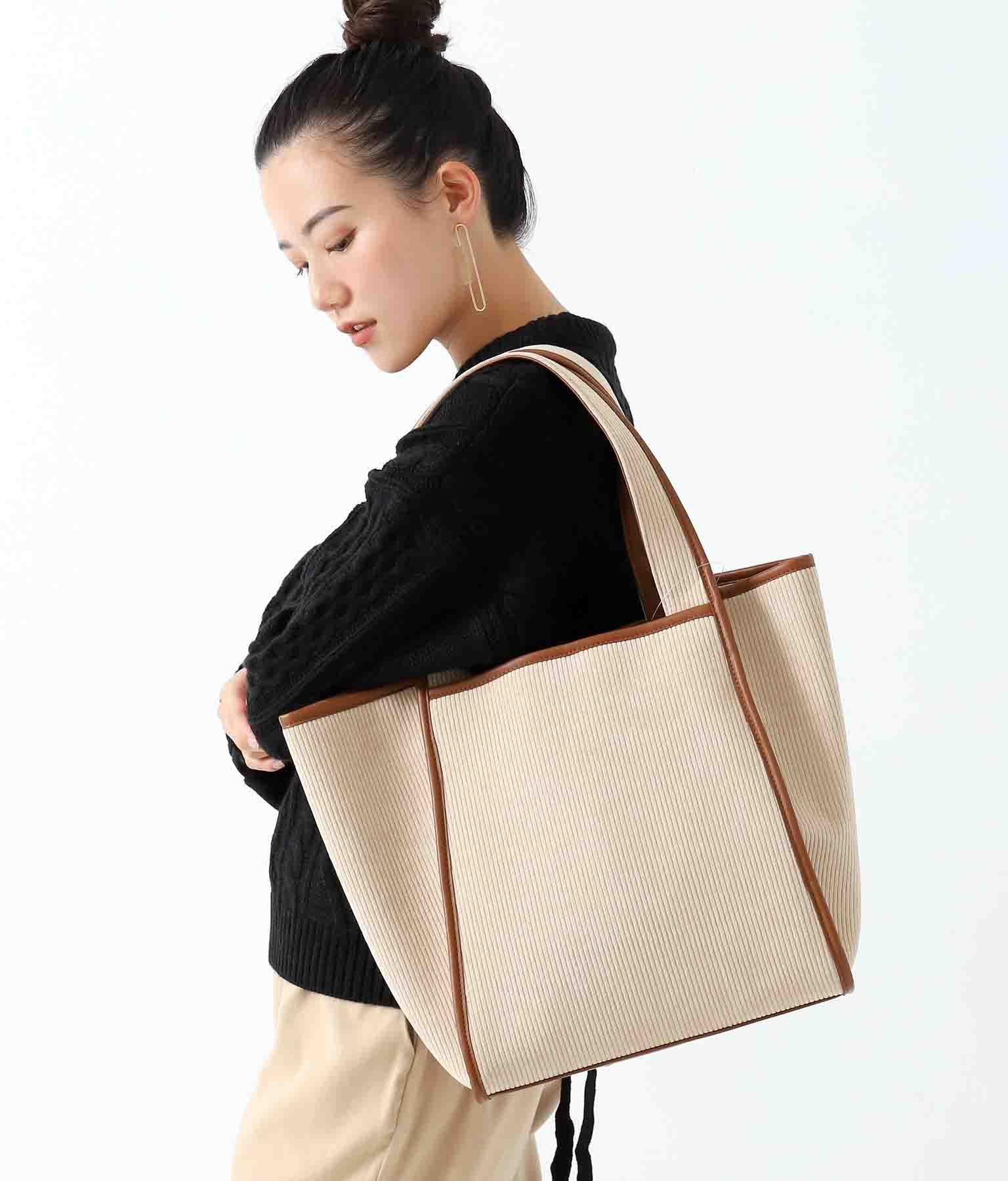 コーデュロイトリミングトートバッグ(バッグ・鞄・小物/トートバッグ) | Alluge