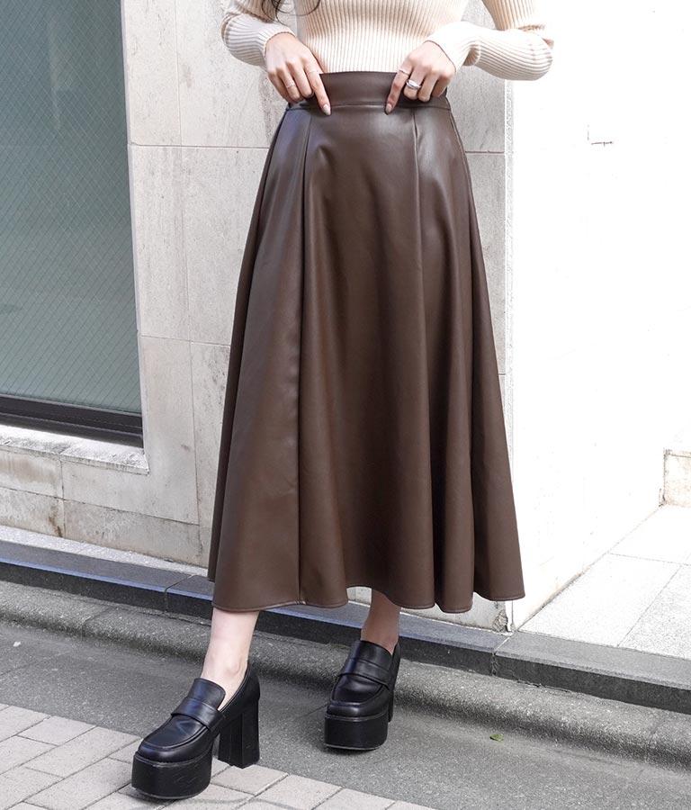 ANAP フェイクレザーロングフレアスカート