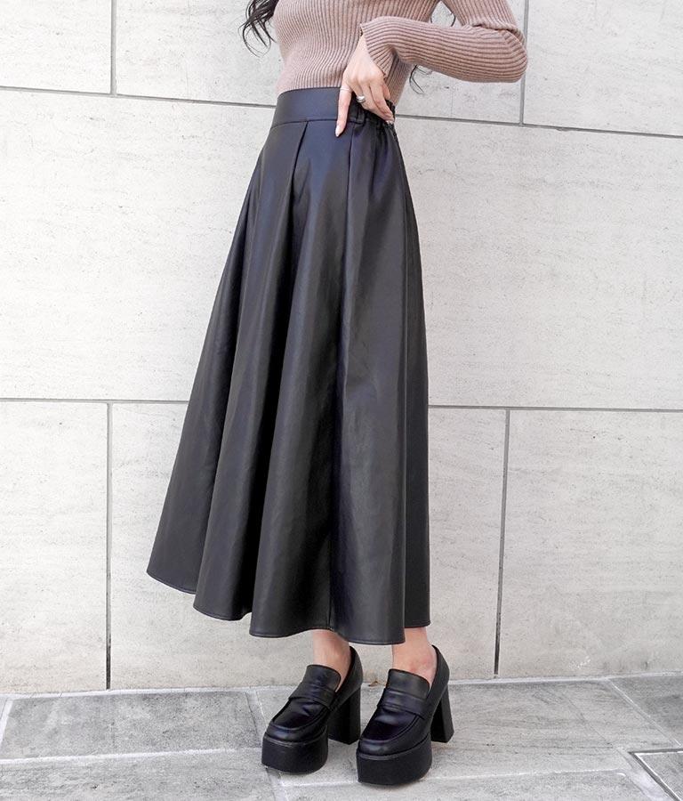 フェイクレザーロングフレアスカート(ボトムス・パンツ /スカート) | ANAP