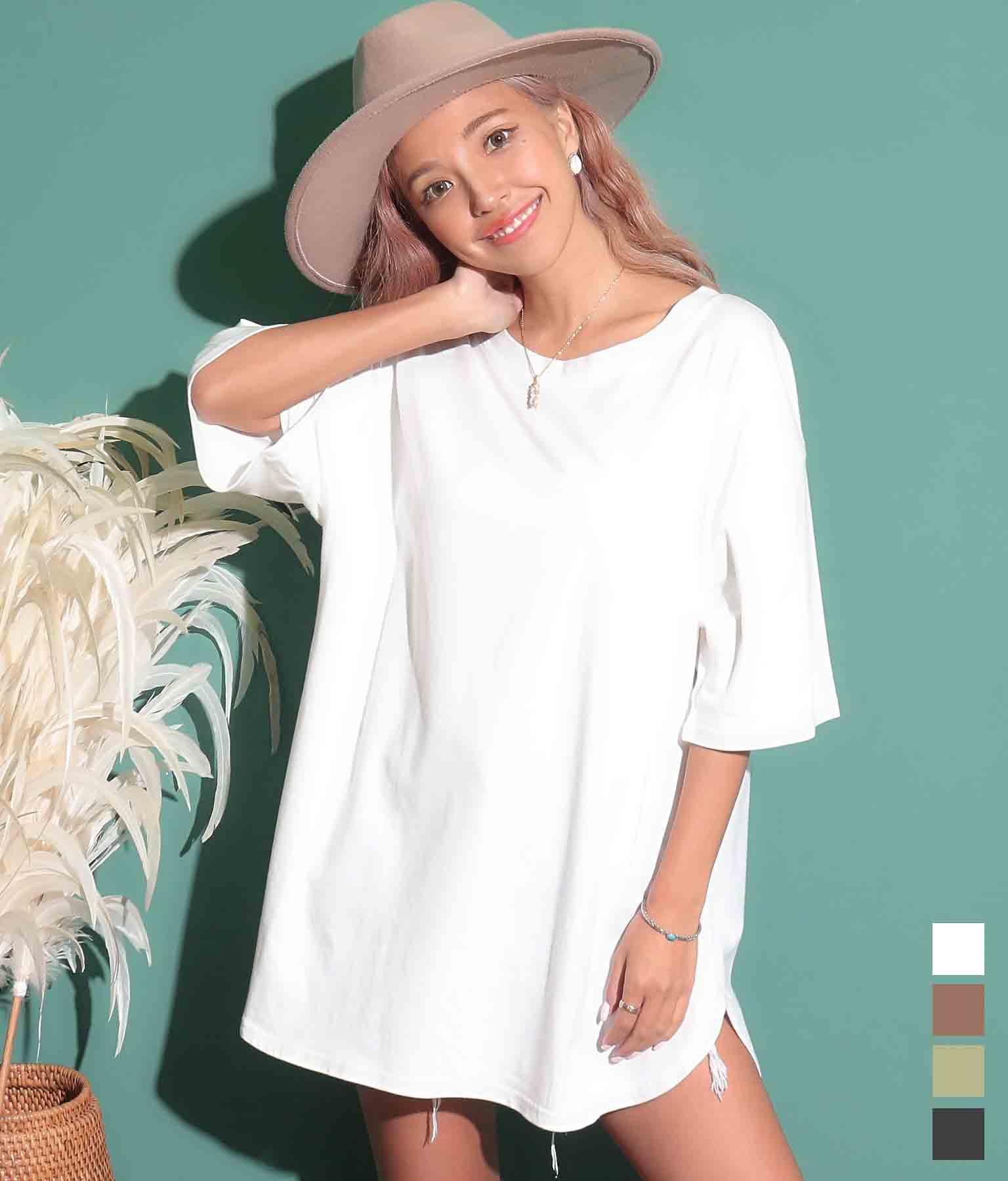 ラウンドヘムオーバーサイズ半袖Tシャツ