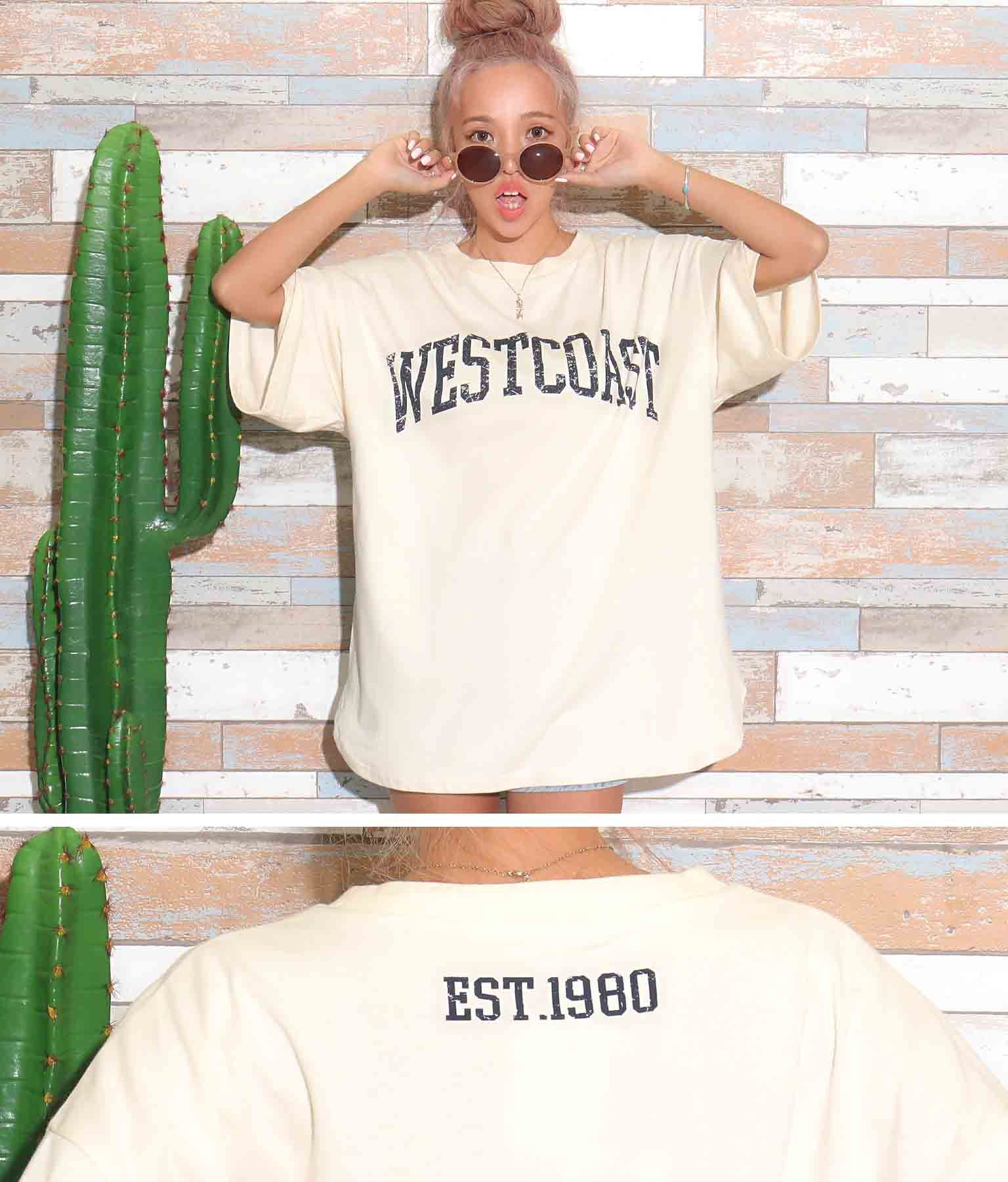 プリント5分丈ビックTシャツ