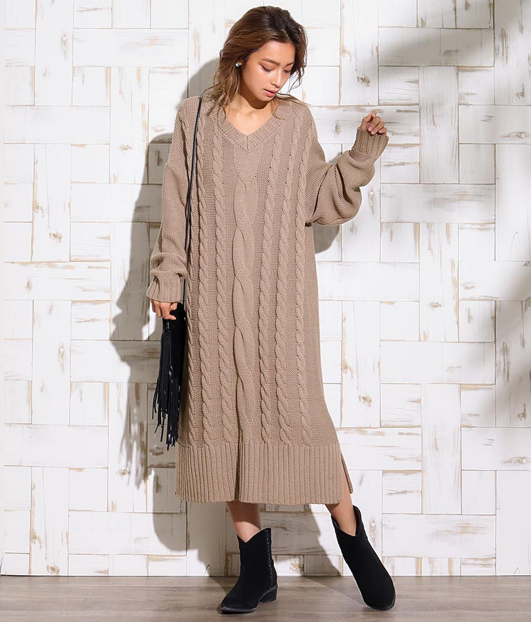 ケーブルニットオーバーサイズワンピース(ワンピース・ドレス/ミディアムワンピ) | anap mimpi