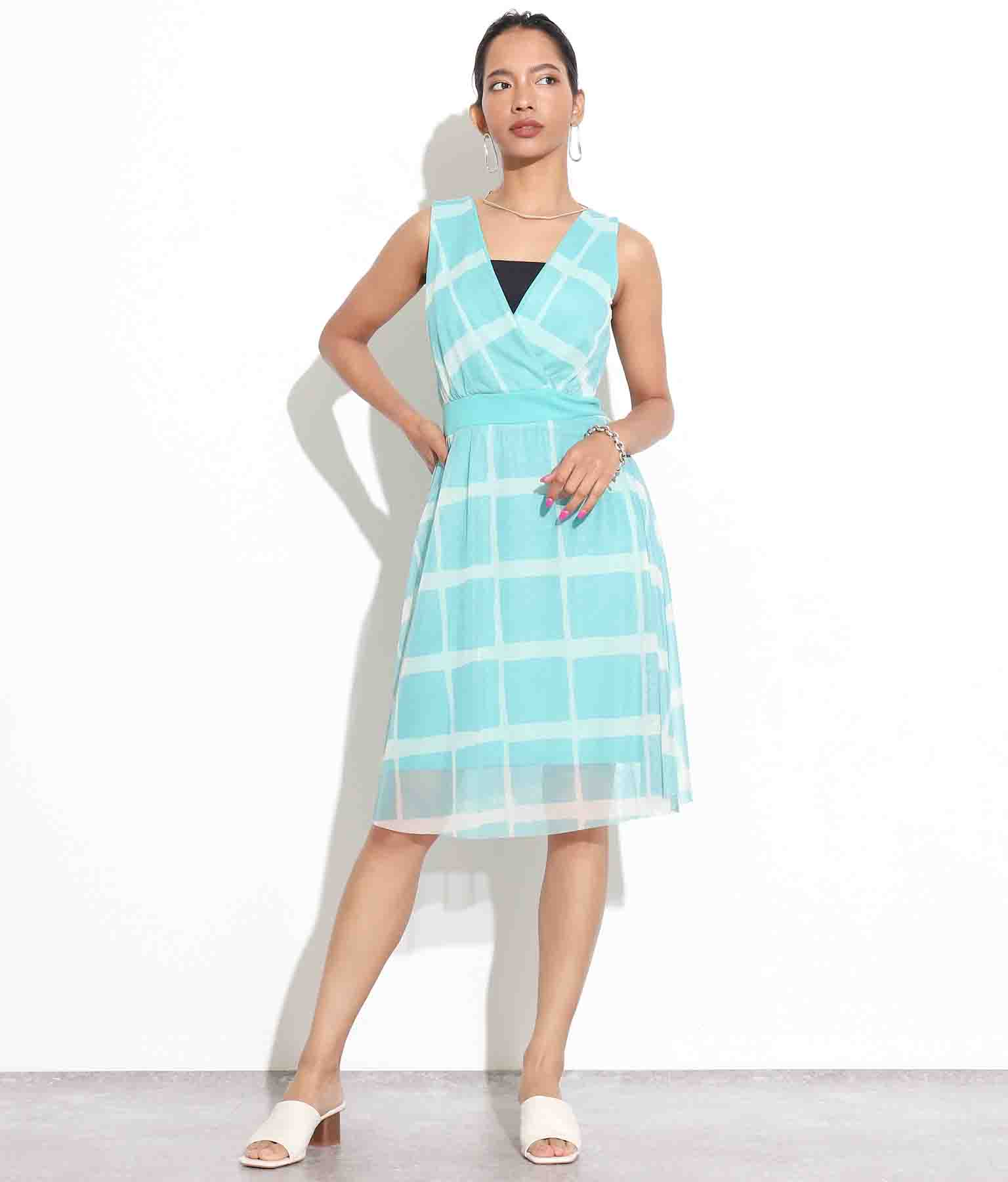 ウィンドウペンチェックカシュクールメッシュワンピース(ワンピース・ドレス/ミディアムワンピ) | Settimissimo