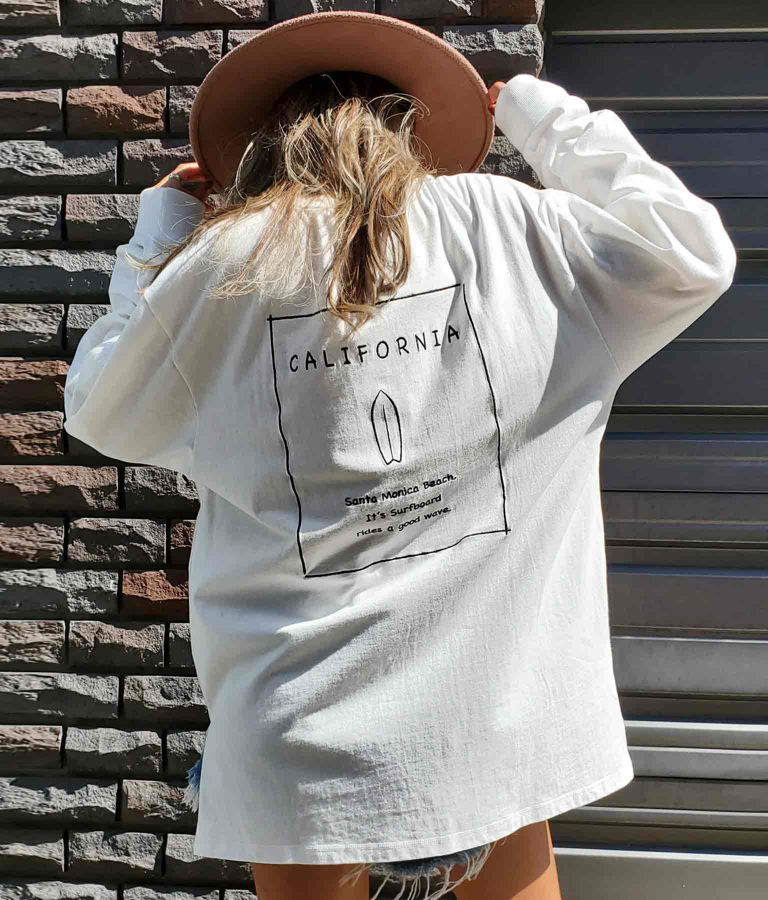 サーフボード刺繍ロングTシャツ