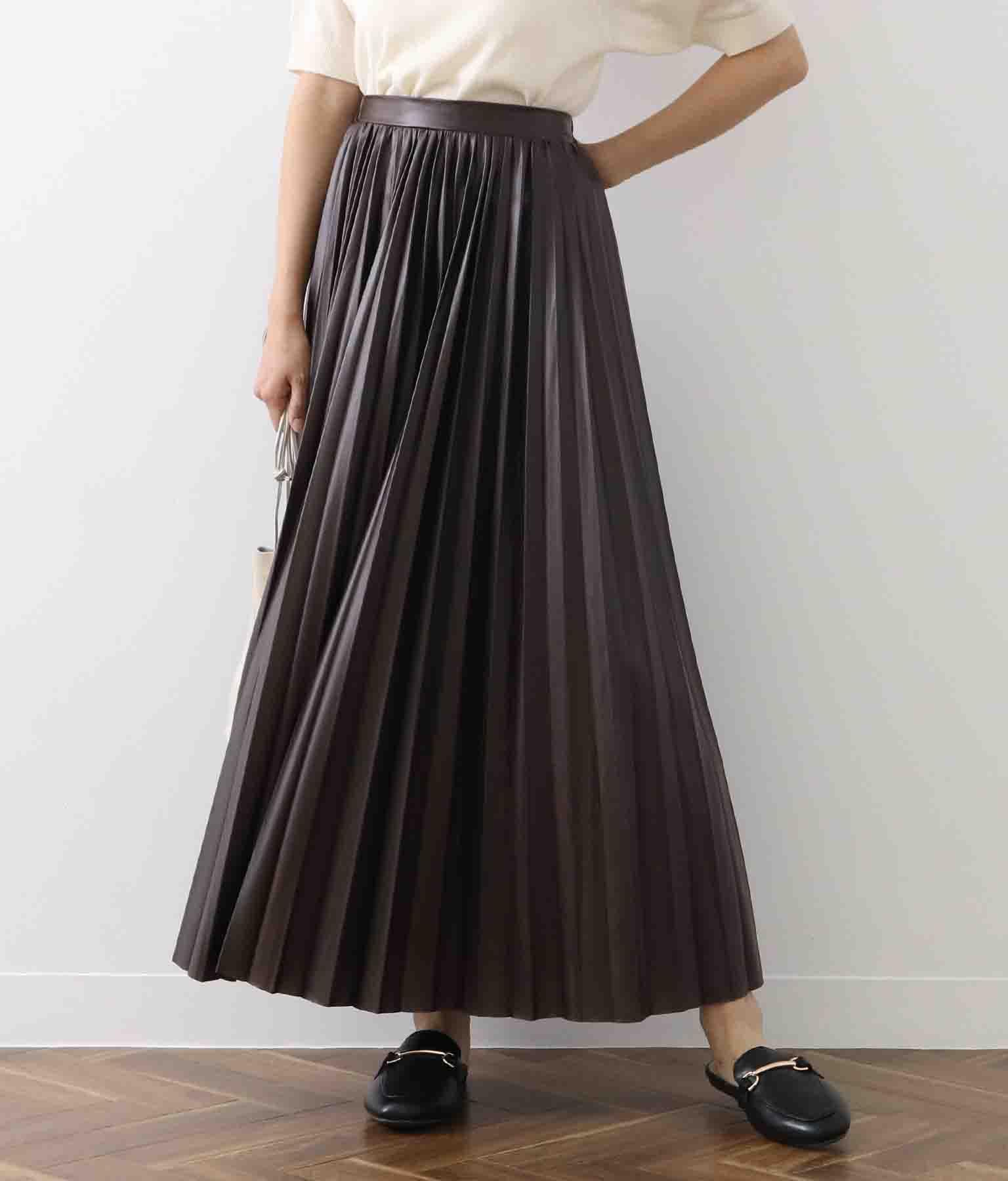 レザー風プリーツスカート
