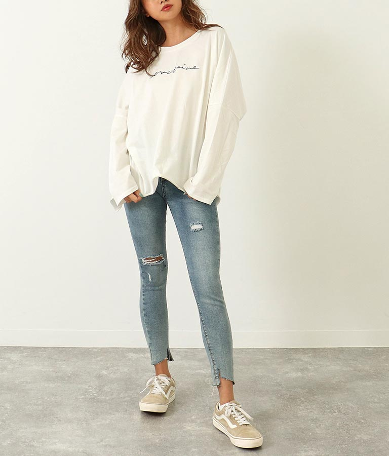 バックスリットプリントロンT(トップス/Tシャツ・ロングTシャツ)   ANAP