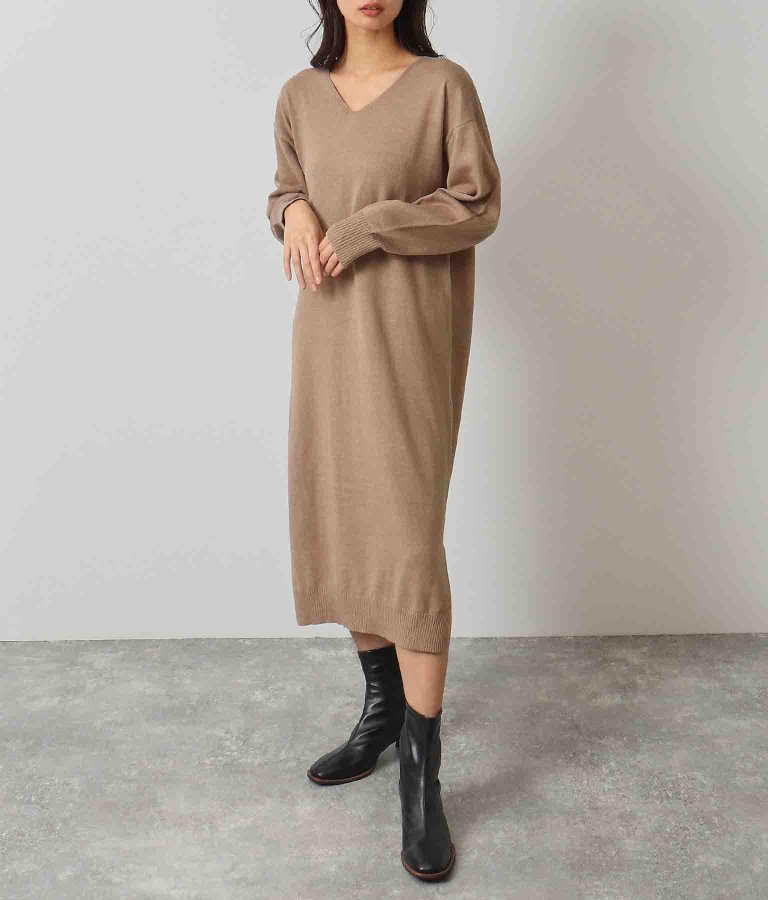 ウールタッチVネックワンピース(ワンピース・ドレス/ミディアムワンピ) | ANAP