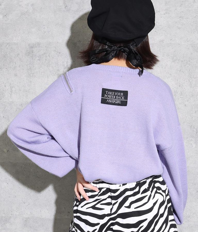 肩ジップ刺繍ニットトップス(トップス/ニット/セーター) | ANAP GiRL