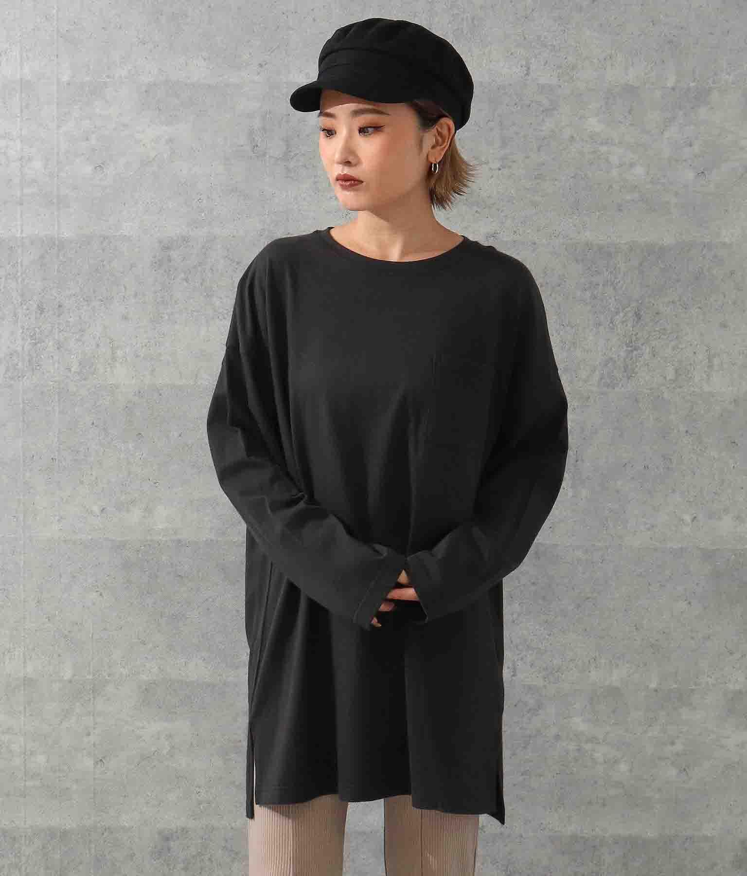 ANAP オーバーサイズシンプルロングTシャツ