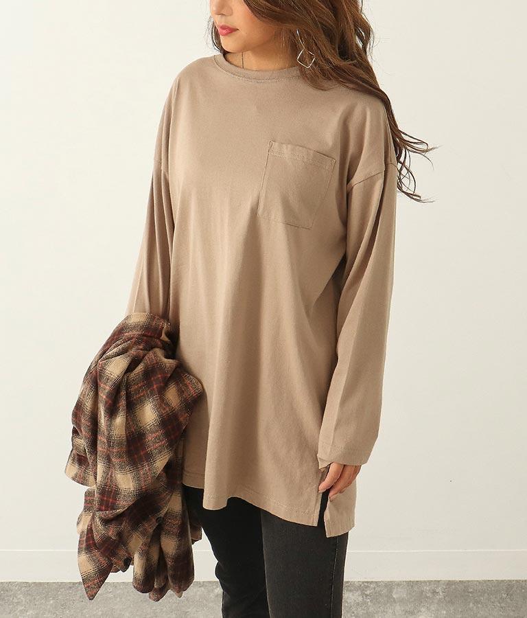オーバーサイズシンプルロングTシャツ