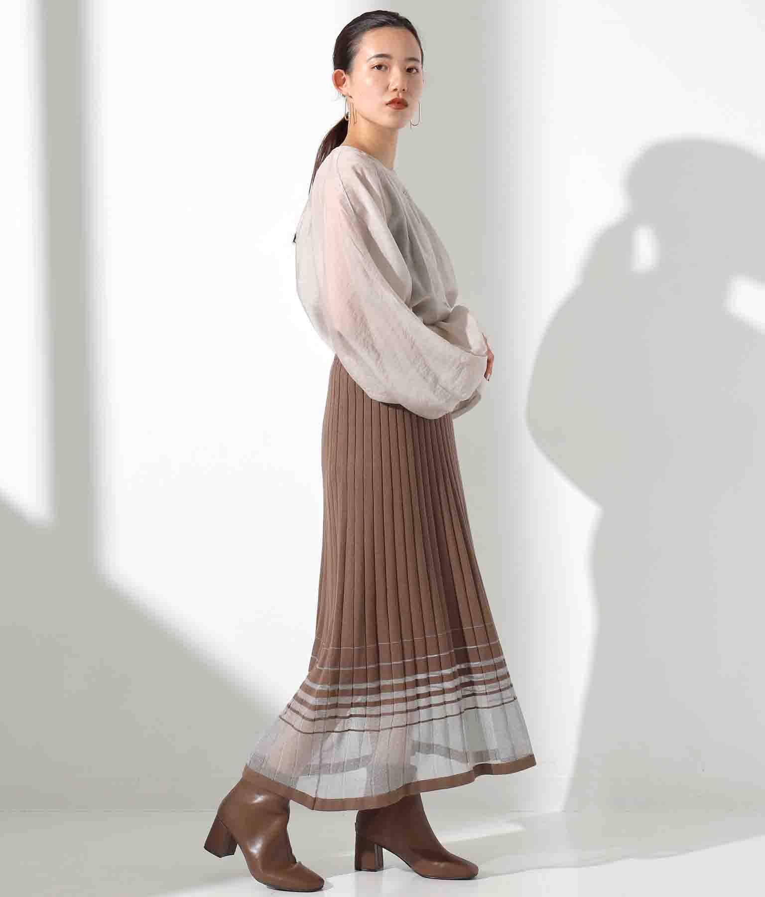 シアーラインプリーツ編みスカート(ボトムス・パンツ /スカート) | Alluge