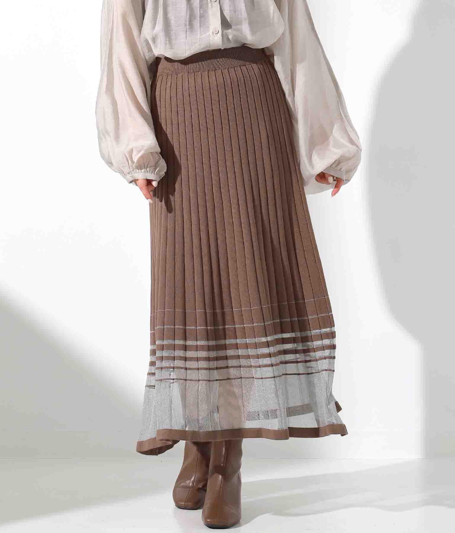 シアーラインプリーツ編みスカート