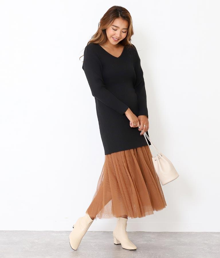 ニットチュニック×チュールスカート(ボトムス・パンツ /チュニック・スカート)   Alluge