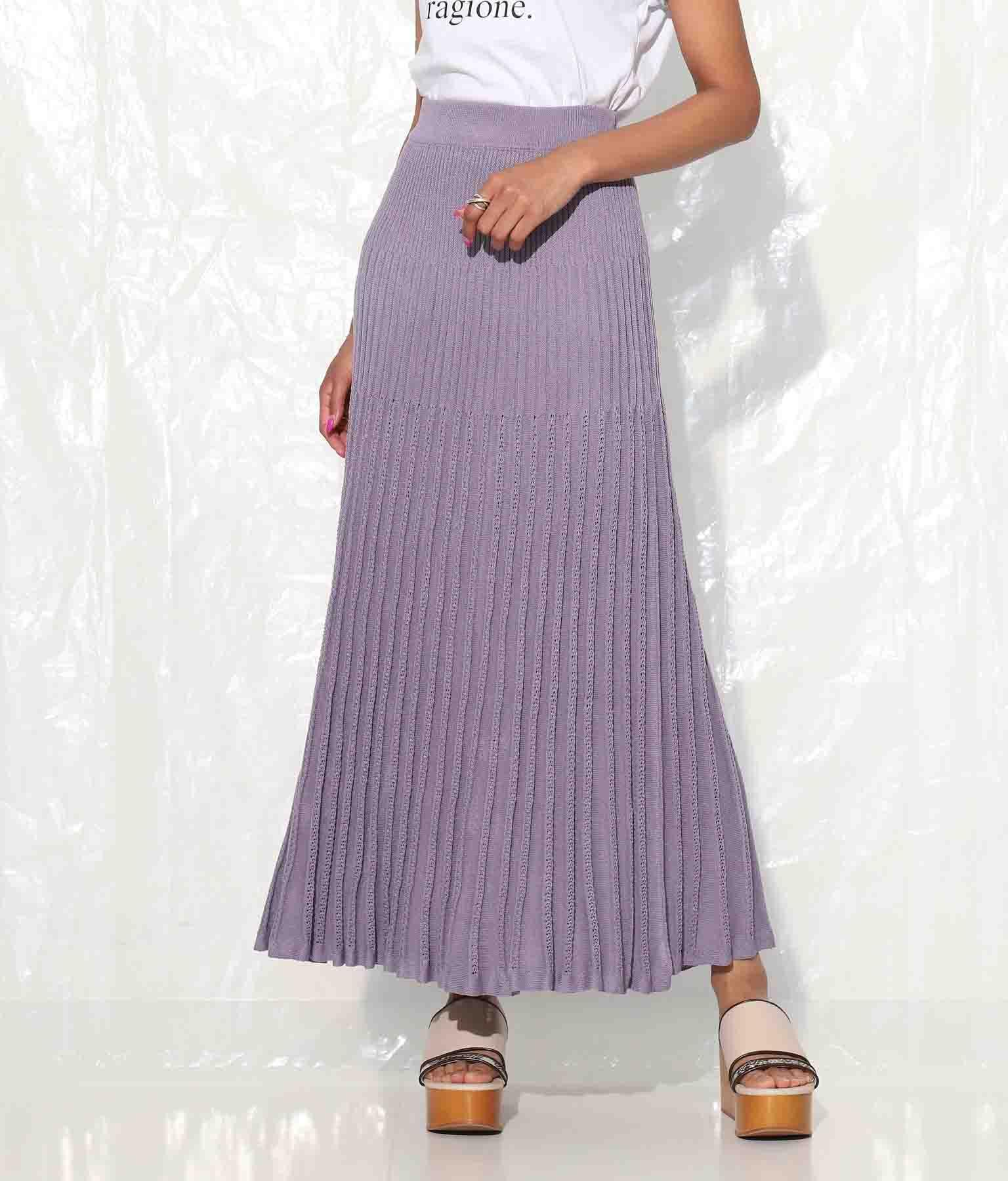 ランダムデザインプリーツニットスカート