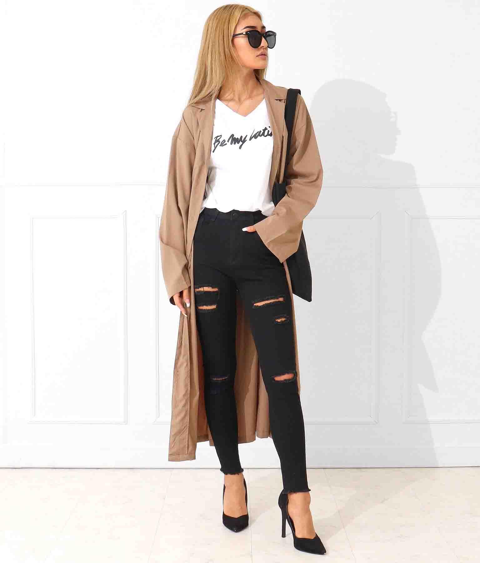 anap Latina ウエストリボンロングシャツジャケット