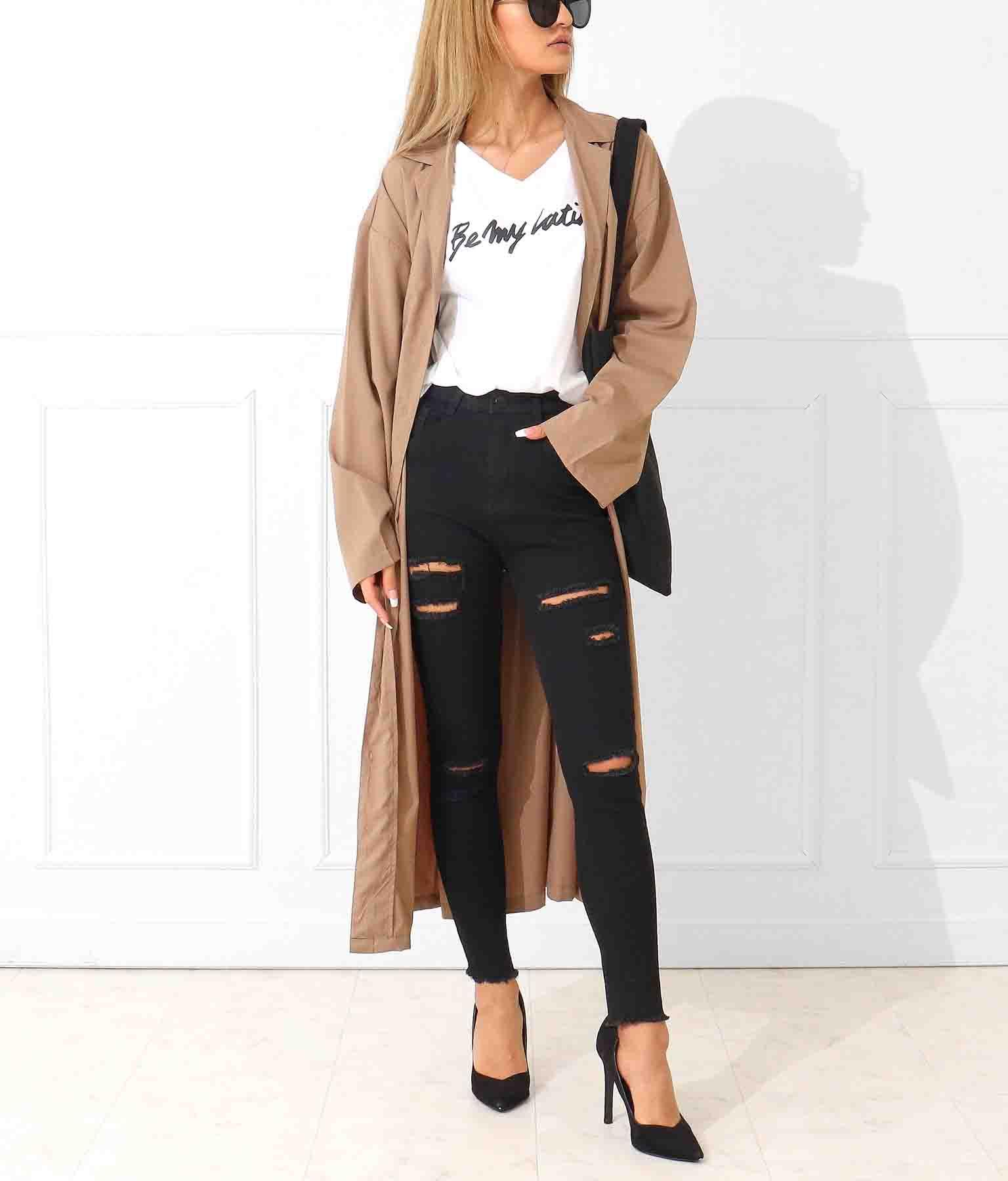 ウエストリボンロングシャツジャケット