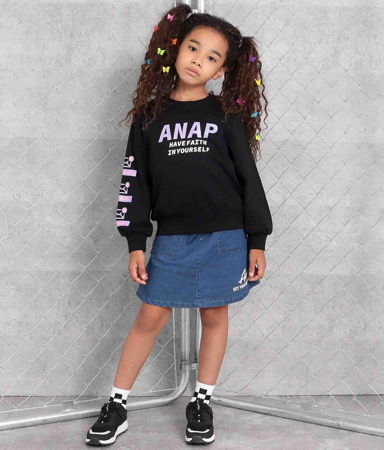 袖アイコンラメプリントミニ裏毛トレーナー(トップス/スウェット・トレーナー) | ANAP KIDS