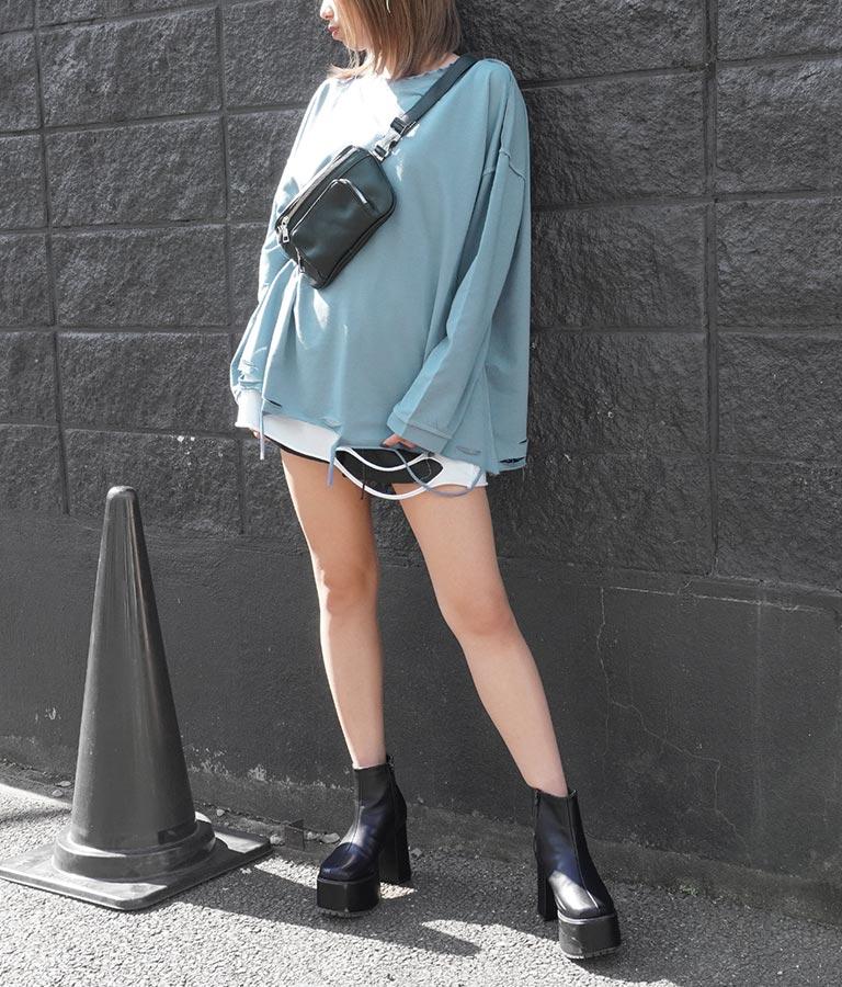 ミニ裏毛ダメージオーバーサイズトップス(トップス/Tシャツ・ロングTシャツ) | ANAP