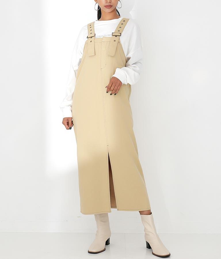 ツイルフロントスリットロングジャンパースカート