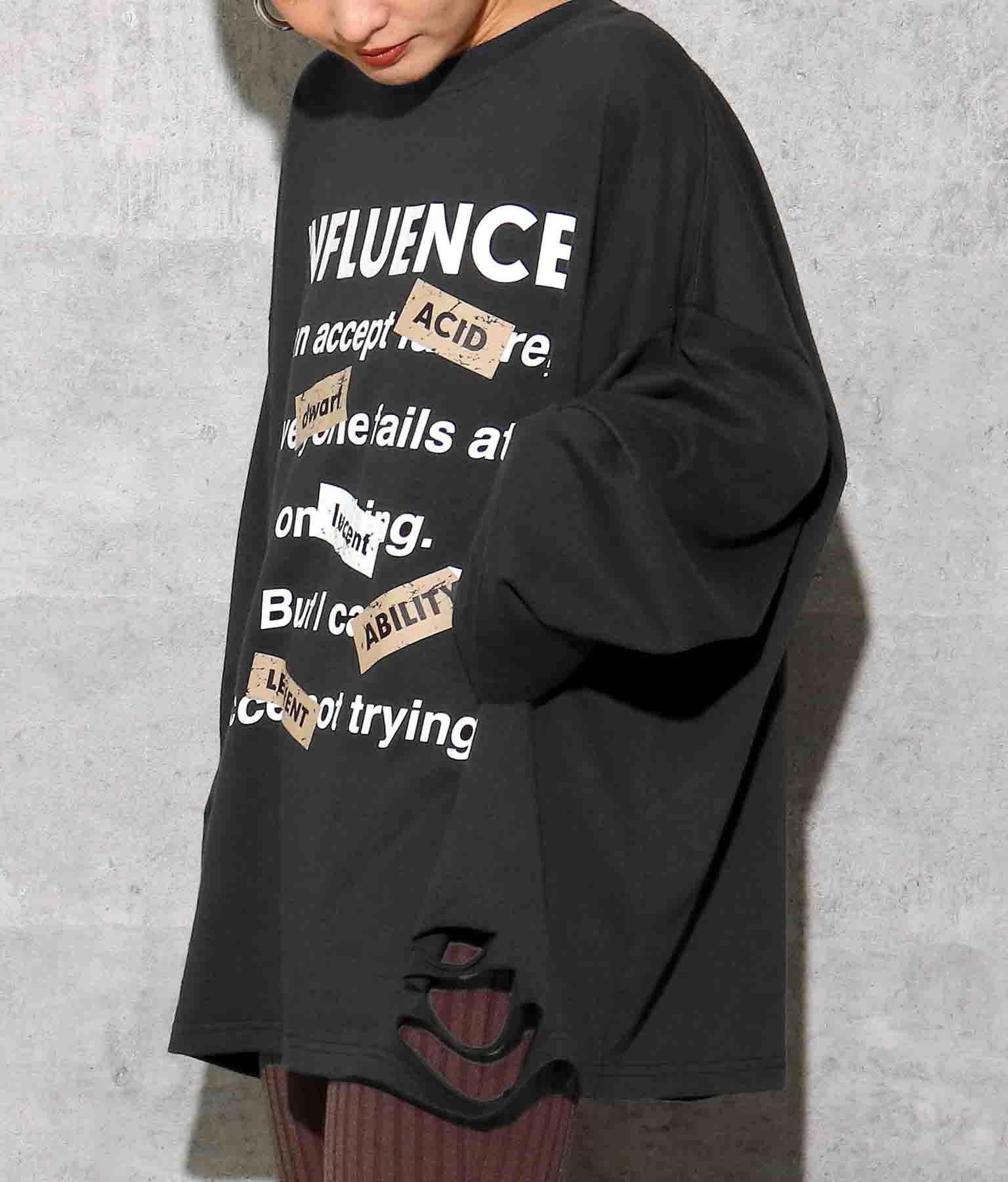 フロントプリントダメージロングTシャツ