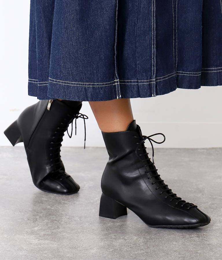 スクエアレースアップブーツ(シューズ・靴/ブーツ)   Alluge